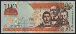 banknote of Dominican Republic 100 Pesos Oro in UNC condition
