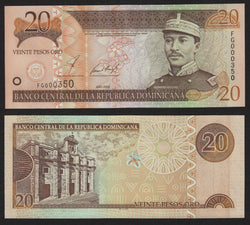 banknote of Dominican Republic 20 Pesos Oro in UNC condition