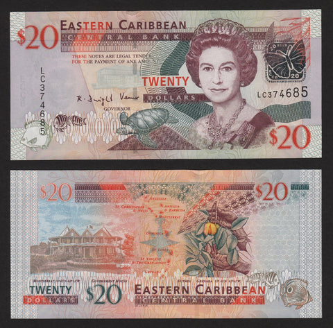 banknote of East Caribbean 20 Dollars in UNC condition