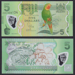 ZZA Replacement Polymer Note UNC Fiji  2012 5 Dollars 2013