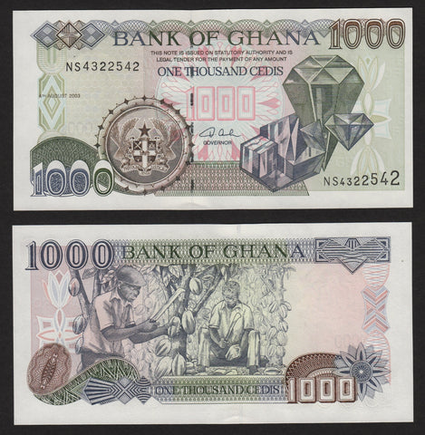 banknote of Ghana 1000 Cedis in UNC condition