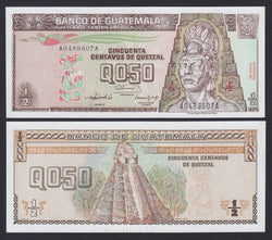 """banknote of  Guatemala  0,5 Quetzal  in UNC condition"""