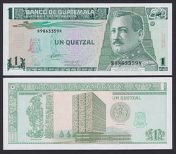 """banknote of  Guatemala  1 Quetzal  in UNC condition"""