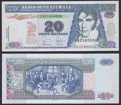 """banknote of  Guatemala  20 Quetzales  in UNC condition"""