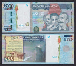 """banknote of  Guatemala  200 Quetzales  in UNC condition"""