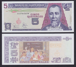 """banknote of  Guatemala  5 Quetzales  in UNC condition"""