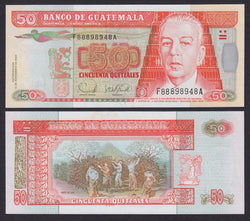 """banknote of  Guatemala  50 Quetzales  in UNC condition"""