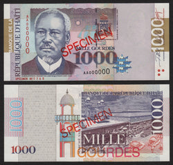 banknote of Haiti 1000 Gourdes in UNC condition