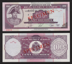 banknote of Haiti 100 Gourdes in UNC condition