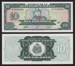 banknote of Haiti 10 Gourdes in UNC condition