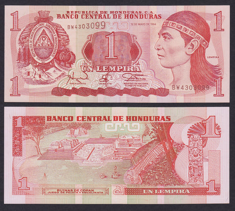 banknote of Honduras 1 Lempira in UNC condition
