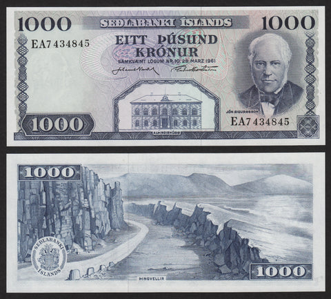 banknote of Iceland 1000 Kronur in UNC condition
