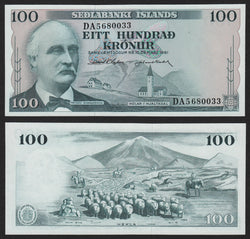 banknote of Iceland 100 Kronur in UNC condition