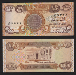 banknote of Iraq 1000 Dinars in UNC condition