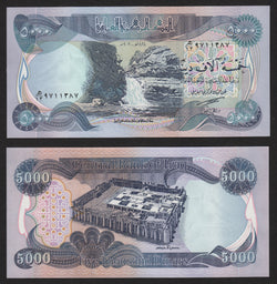 banknote of Iraq 5000 Dinars in UNC condition