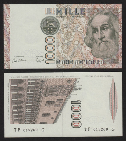banknote of Italy 1000 Lire in UNC condition