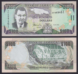 """banknote of  Jamaica 100 Dollars  in UNC condition"""