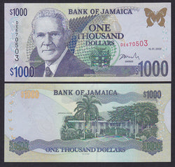 """banknote of  Jamaica 1000 Dollars  in UNC condition"""