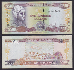 """banknote of  Jamaica 500 Dollars  in UNC condition"""