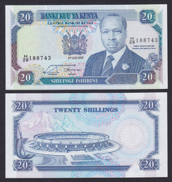 banknote of Kenya 20 Shillings in UNC condition