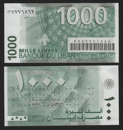 banknote of Lebanon 1000 Livres in UNC condition