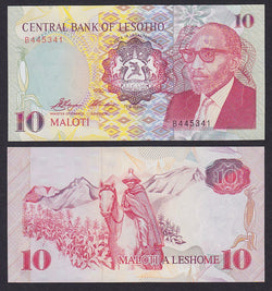 """banknote of  Lesotho 10 Maloti  in UNC condition"""