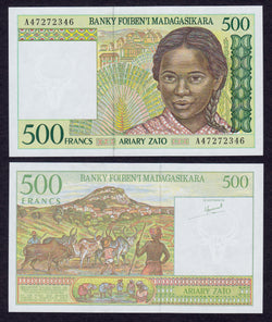 Madagascar 500 Francs ND1994  A, P75 / B311a   UNC