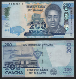 banknote of Malawi  200 Kwacha in UNC condition
