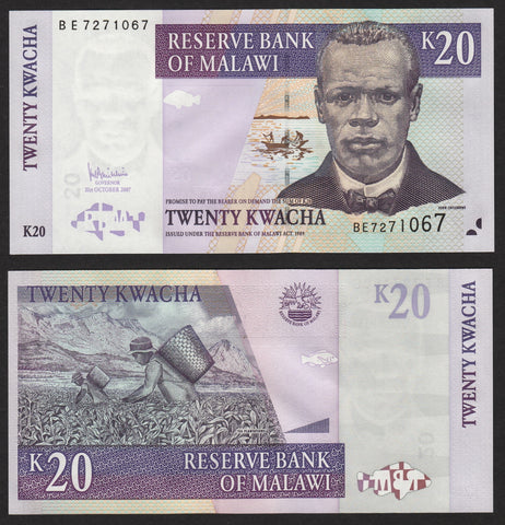 banknote of Malawi  20 Kwacha in UNC condition