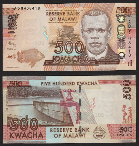 banknote of Malawi  500 Kwacha in UNC condition