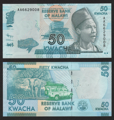 banknote of Malawi  50 Kwacha in UNC condition