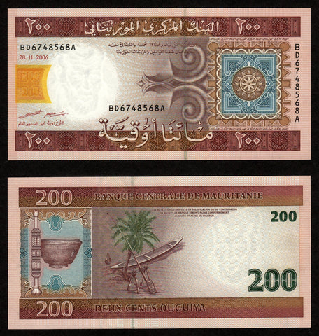 banknote of Mauritania 200 Ouguiya in UNC condition