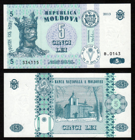 banknote of Moldova 5 Leu in UNC condition