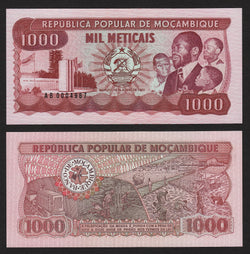banknote of Mozambique 1000 Meticais in UNC condition