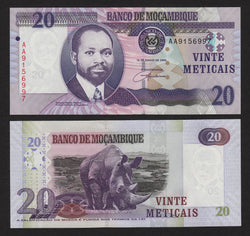 banknote of Mozambique 20 Meticais in UNC condition