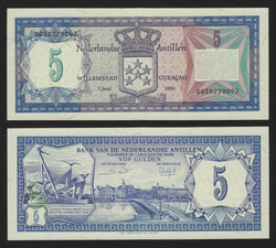 banknote of Netherlands Antilles  5 Gulden in UNC condition
