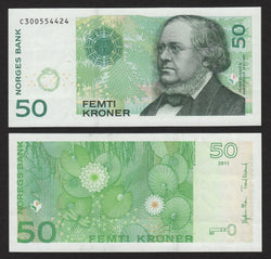 banknote of Norway 50 Kroner in AU condition