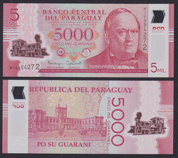 """banknote of  Paraguay 5000 Guaranies  in UNC condition"""