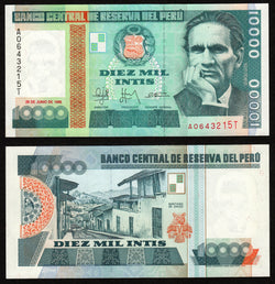 banknote of Peru 10000  in UNC condition