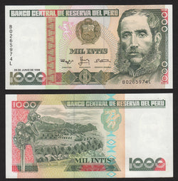 banknote of Peru 1000 Intis in UNC condition