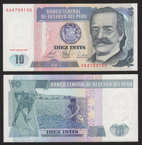 banknote of Peru 10 Intis in UNC condition