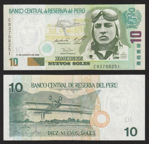 banknote of Peru 10 Nuevos soles in UNC condition
