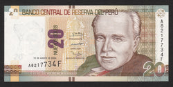banknote of Peru 20 Nuevos soles in UNC condition