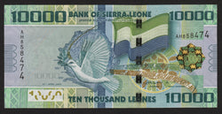 banknote of Sierra Leone 10000 Leones in AU condition