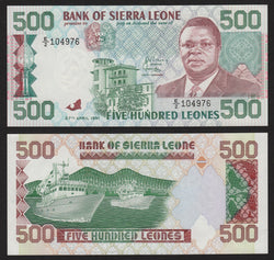banknote of Sierra Leone 500 Leones in UNC condition