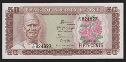 banknote of Sierra Leone 50 Cents in UNC condition