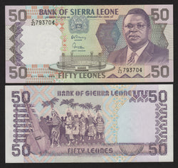 banknote of Sierra Leone 50 Leones in UNC condition