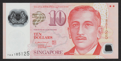banknote of Singapore 10 Dollars in UNC condition