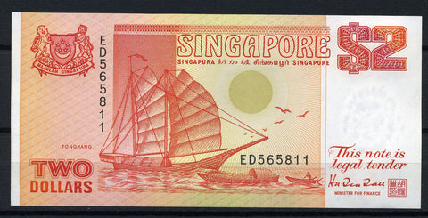 banknote of Singapore 2 Dollars in UNC condition