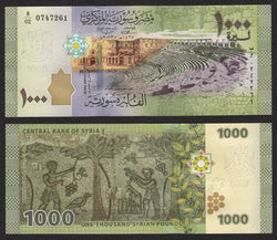 banknote of Syria 1000 Pounds in UNC condition
